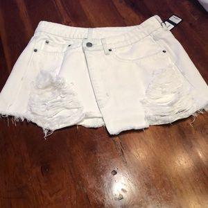Carmar Margery White Denim Distressed Mini Skirt